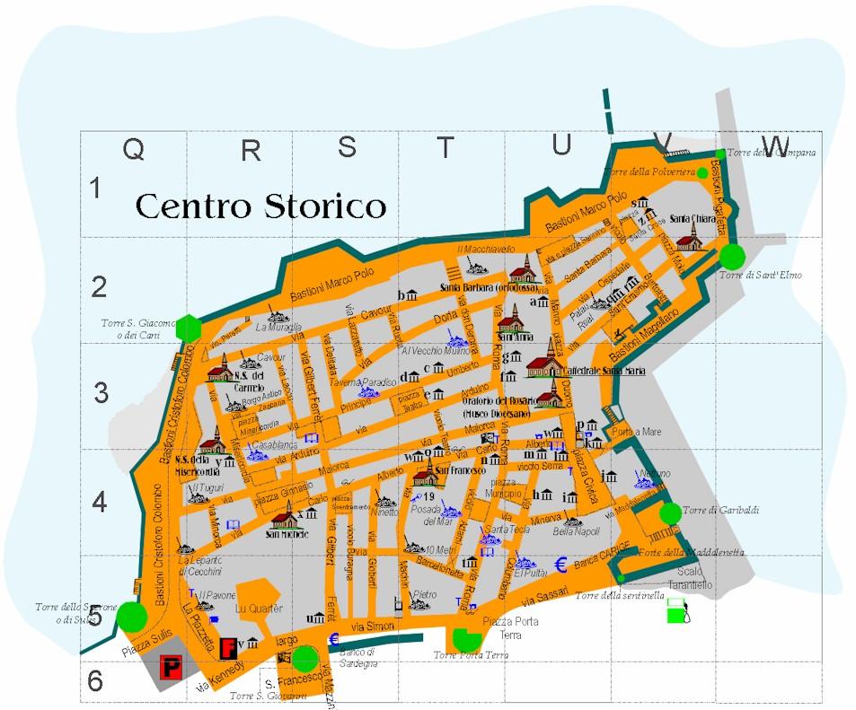 Cartina Di Malta Da Stampare.Citta Di Alghero La Mappa Della Citta