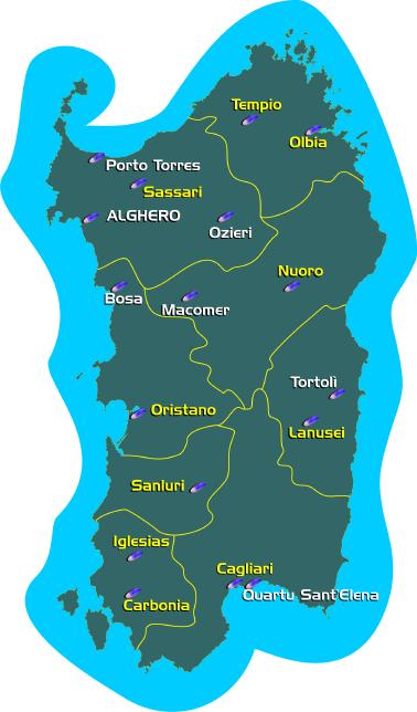 Cartina Sardegna Province.Citta Di Alghero La Geografia
