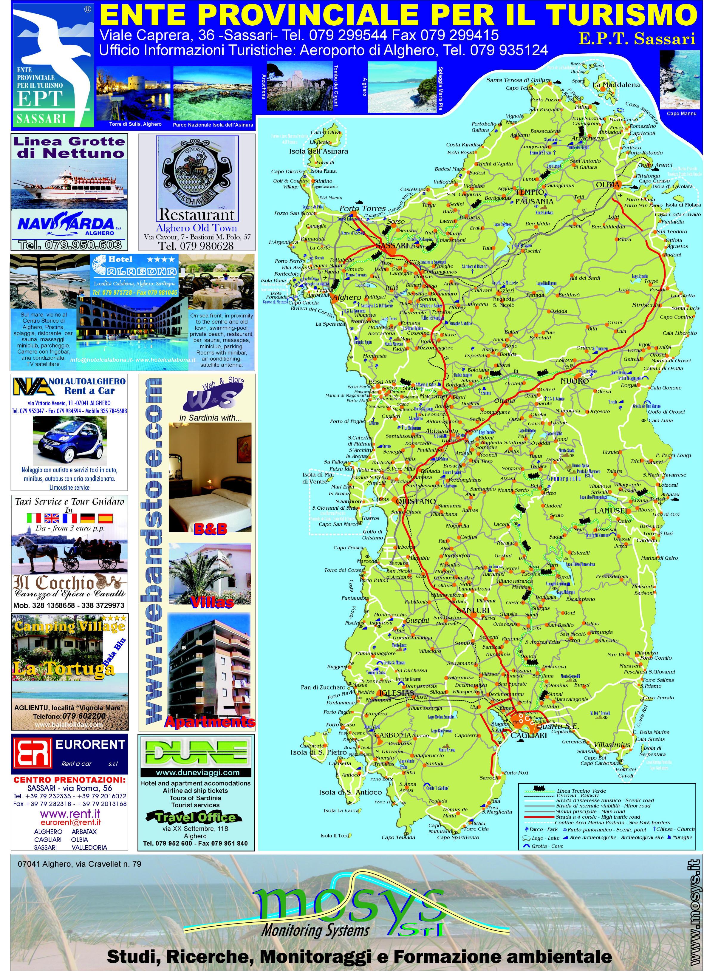Cartina Sardegna Aglientu.Mappa Sardegna Big